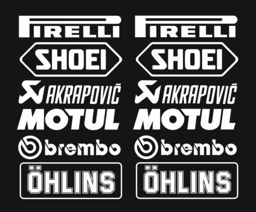 Juego de adhesivos n.º 3 (12 pegatinas blancas, color a elegir), logotipo de Pirelli Akrapovic, 16cm, pegatinas para coche, moto, camioneta.