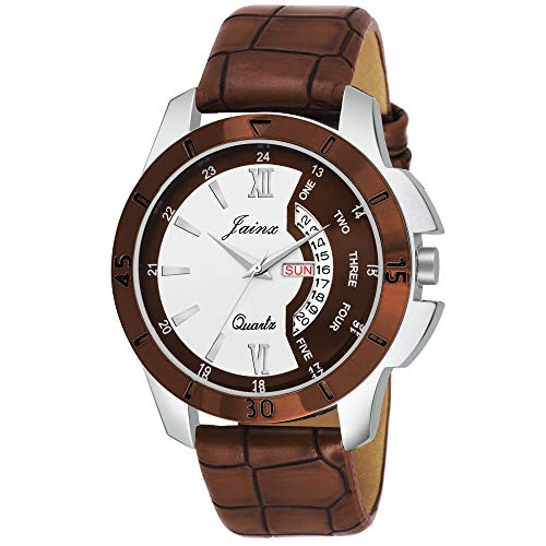 Jainx Brown Day and Date Round Analogue Watch for Men's & Boys - JM315