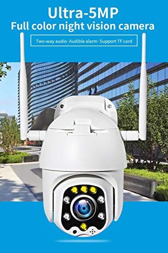Telecamera Wi-Fi Inqmega 5Mp Super Hd Ptz Ip Ip Camera Full Color Notte Visione Esterna Impermeabile Audible Allarme Audible Due Vie Audio Telecamere Di Sicurezza Domestica Bianco