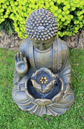 Home Hut Buda Fuente de Agua Fuente de jardín Adorno Decoración al Aire Libre LED Bronce 50 cm 4