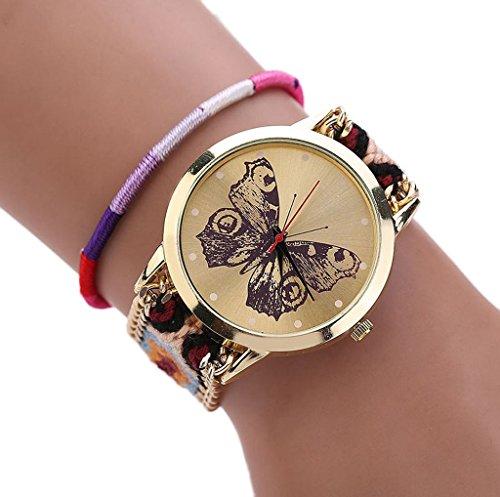 Sannysis Tejida hecha a mano pulsera trenzada mariposa Dial Quarzt Reloj para mujeres color (Naranja)