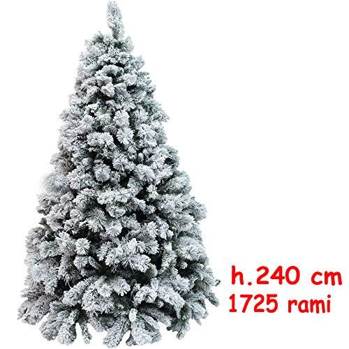 Albero di Natale h.240 Centimetri Abete Snow Innevato Artificiale Pino Artificiale Molto Folto 1725 Punte Diametro 175 cm