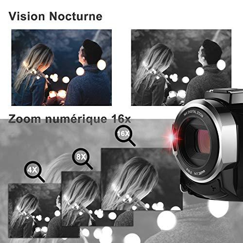 Caméscope 4K,FamBrow Caméra Vidéo WiFi 48MP IR Vision de Nuit 16 x Digital Zoom,Camescope Numerique 270 Degrés Rotatif Écran Tactile Camera ... 24