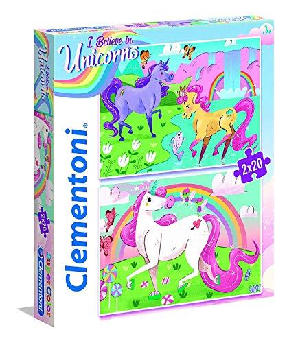 Clementoni-Clementoni-24754-Supercolor-Unicorno Brilliant-2 x 20 pièces Supercolor...