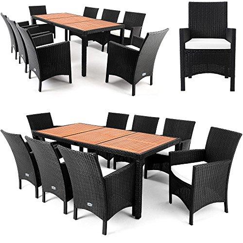 Polyrattan Sitzgruppe 8+1 Tisch aus Akazienholz Gartenmöbel Lounge Gartenset Sitzgarnitur Rattan