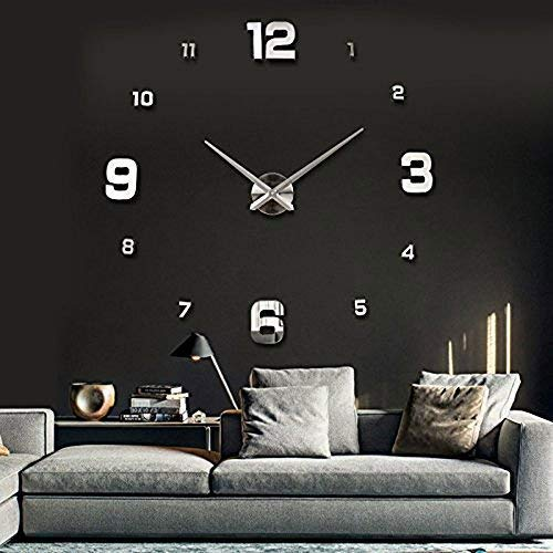 UBAYMAX Orologio da Parete Adesivo,3D Mirror Modern Wall Clock,DIY Large Watch Removibili per...