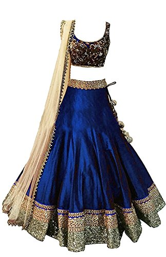 Mahavir Fashion Girls Blue Benglori Silk Un-stitched Lehenga Choli For Festivals and Wedding Special Traditional Wear. (5-12 Yrs)