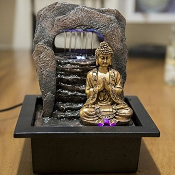 Zen' Light Buda Zen Dao Fuente, Resina, Bronce, 21x 17x 25cm 6