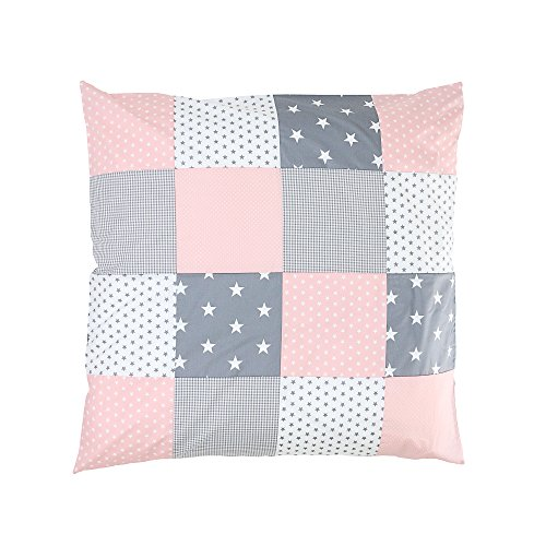ULLENBOOM ® Baby Bettdeckenbezug 80x80 Rosa Grau (auch als Kinderwagendecke, Stubenwagen Decke oder Dekokissen geeignet, Motiv: Sterne, Patchwork)