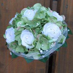 floristikvergleich.de Brautstrauß Biedermeier Seidenblumen Strauß Hochzeit mit weißen Rosen und grünen Hortensien #41731
