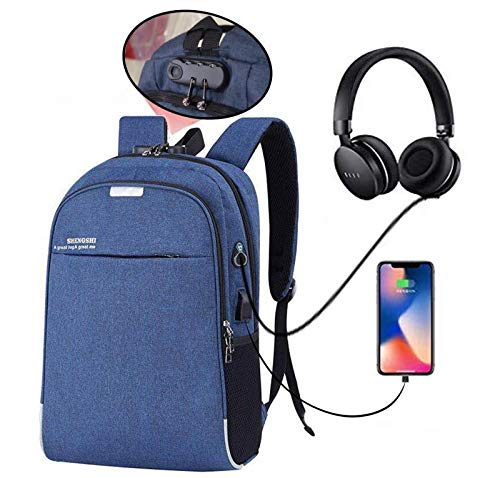 Hoteon Mobilife Business Laptop Water Resistant Anti-Theft Backpack with USB Charging Port and Lock 15.6 Inch Computer Backpacks for Men and Women (Blue)