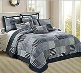 Parure de lit THL - Motif patchwork - Couvre-lit et 2 taies d'oreiller -...