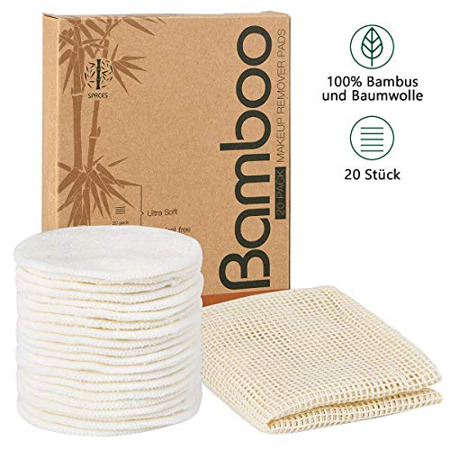 SPACES® Waschbare Abschminkpads| 20 Stück Wiederverwendbare Wattepads aus Bambus und Baumwolle | Umweltfreundlich |Weich & Schonend Abschminktücher | INKL. Wäschenetz |Perfekt für Gesichtsreinigung