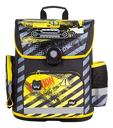 Baagl Schulranzen Jungen 1. Klasse - Ergonomische Schultasche für Kinder - Grundschule Ranzen - Schulrucksack mit Brustgurt (Bagger)