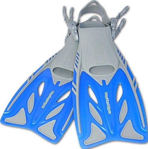 AQUAZON Barracuda verstellbare Flossen, Schnorchelflossen, Taucherflossen, Schwimmflossen, Diving fins für Kinder, Erwachsene zum Schnorcheln und Schwimmen, Size:32/37, Colour:Blue