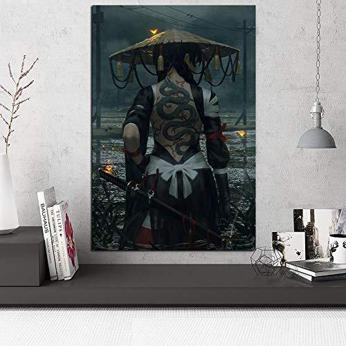 aicedu Cartel Muur Kunstwerk Lienzo Schilderij Impresiones Serpiente Sashimi Stro Azada Espadachín Modulaire Foto Voor Slaapkamer Decoración para El Hogar Kader-60X80Cm