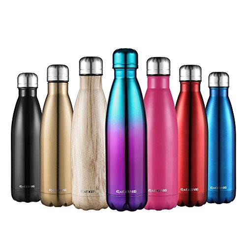 CMXING Bottiglia Acqua, 500ml/ 750ml Doppia Parete Acciaio Inox Sottovuoto Coibentato Bottiglia...