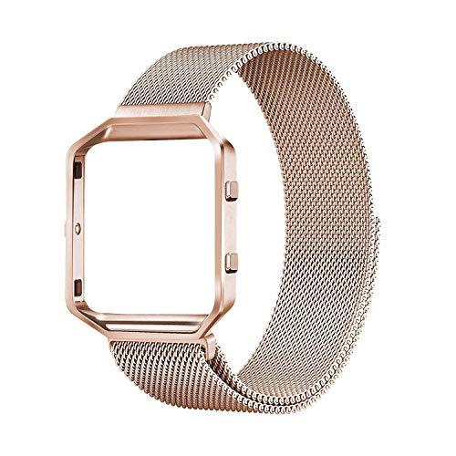 Boxby, Cinturino per Fitbit Blaze, Cinturino Magnetico in Acciaio Inox con Struttura in Metallo Regolabile, Rosegold