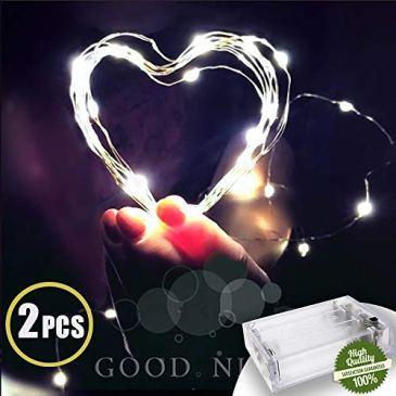 Décoration Guirlandes Lumineuses Piles,Morbuy Fée Fil De Cuivre Chaîne Lumière LED 2PC pour Noël Fêtes Mariages Jardin Maison Terrasse