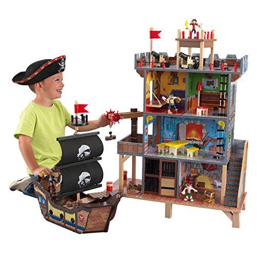 KidKraft 63284 Pirate's Cove - Set Covo dei Pirati, con Vascello e Pupazzetti Inclusi, in Legno, per...