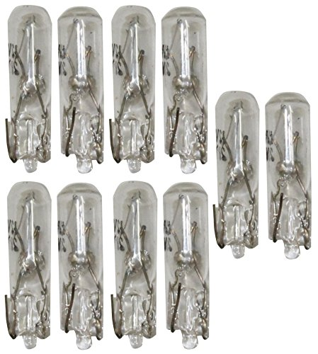 Aerzetix - Set di 10 lampadine per luci di cruscotto auto 2W T5 12V .