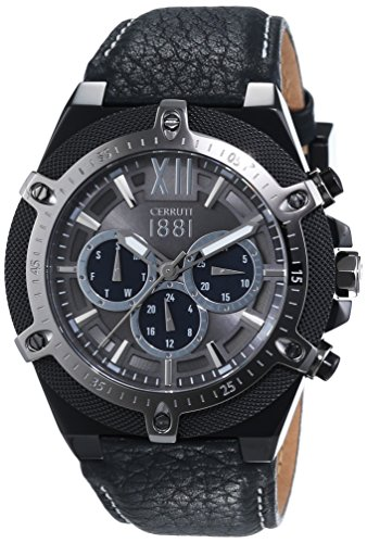 Cerruti 1881 Herren-Armbanduhr SANTIAGO Analog Quarz Leder CRA036SBU13BK