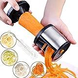 XREXS Gemüsenudeln Spiralschneider Edelstahl Spiralschneider Hand mit Bürste, Gemüsespaghetti Gemüsehobel für Karotte, Gurke, Kartoffel,Kürbis, Zucchini