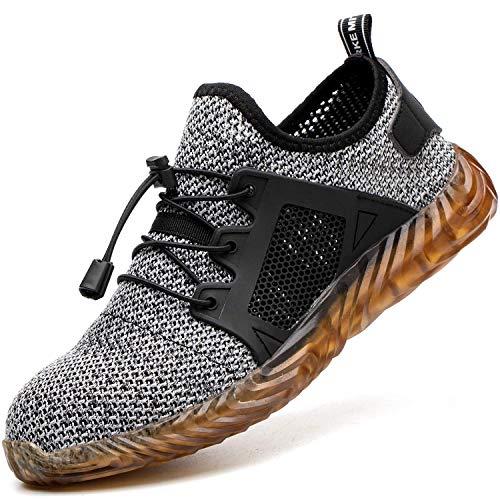 COOU Zapatos Seguridad Hombres Ligeros Transpirables Calzado Seguridad Deportivo Mujer Puntera de Acero S3 Zapatos de Trabajo Zapatilla de Deporte
