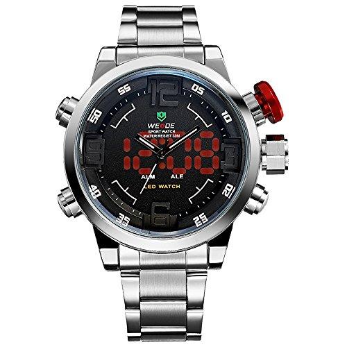 Reloj para hombre, Reloj de pulsera de cuarzo japonés Digital analógico LED de lujo de banda de acero inoxidable, Relojes de moda deportivo multifuncional para hombre
