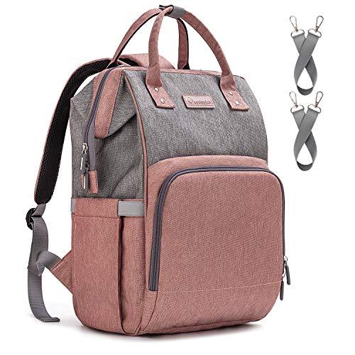 Upsimples Baby Wickeltasche Rucksack Wickelrucksack,mit USB-Ladeanschluss und 2 Kinderwagengurten für Mama (Pink & Grau)