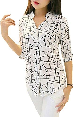 J B Fashion Women's Animal Print Regular fit (Shirt White Large)