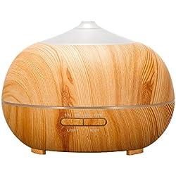Tenswall 400ml Humidificador ultrasónico Difusor aromatherapie humidificador de aceites esenciales humidificador grano de madera difusor de aceites esenciales transmisión purificador de aire madera con 7colores luces LED para el hogar, Yoga, Oficina, Spa, Dormitorio