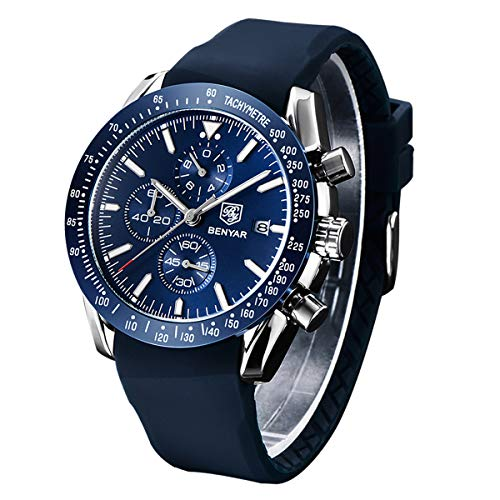 Orologio cronografo per uomo braccialetto in silicone quadrante blu lusso impermeabile-Orologio...
