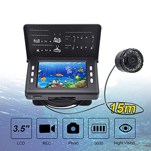 TLgf LED Fish Finder a infrarossi 320 * 240 LCD Video 3000mAh Batteria 15M Impermeabile Canna da Pesca Fotocamera DVR ecoscandaglio