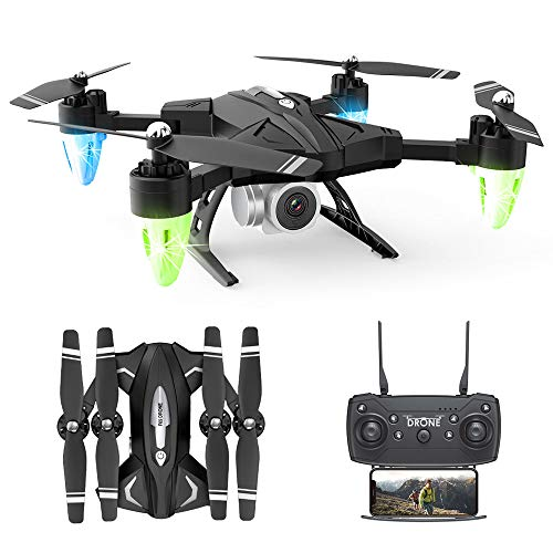 Potente Drone con Videocamera HD, Drone con Videocamera Live Video, Droni Tascabili RC Quadcopter con 2 Batterie, Facile da Usare per Principianti, modalità Senza Testa A 6 Assi 2.4G