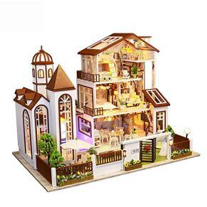 GSC-home Madera casa de muñecas DIY Villa del Sentido de la orientación de la construcción de Edificio Modelo Mini-Set…