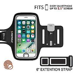 Kaufen PORTHOLIC Schweißfest Sport Armband Fitness iPhone,Android–LEBENSLANGE GEWÄHRLEISTUNG – Mit Schlüsselhalter, Kabelfach, Kartenhalter für iPhone 8/7/6/6S/5/5S/SE,Galaxy S7/S6/S5 bis 5.1 Zoll (Schwarz+)