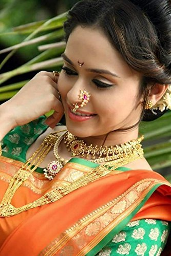 Amaal Traditional Maharashtrian Nath Jewellery Sets Pearl Gold Nath Nose Rings for Girls Women Nose Ring-A7112 2