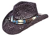 Schwarzer Strohhut, Westernhut, Cowboyhut mit breiten dekorativen Hutband (S (Gr.52-56))