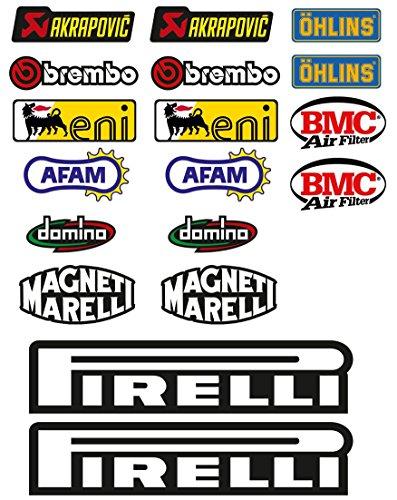 Pegatinas moto Patrocinador técnico, para moto, 18 unidades - SBK, Honda, Yamaha, Ducati, Suzuki, BMW, Aprilia
