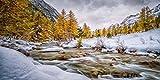 Cuadro sobre Lienzo – Río Fluir Nieve Árbol Montaña Cielo Paisajes Fotografía Pared Impresións – 120X60 cm