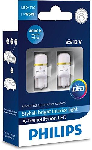 Philips 127994000KX2 X-tremeUltinon LED Luce per abitacolo W5W T10 4000K 12V, 2 Pezzi, 4000 Kelvin,...