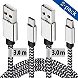 USB C Cable, 2 Pack 3.0M Type C Cable Durable Certified Nylon Braided Charging Cable Compatible For Samsung Galaxy S10 S9 S8 Plus Note 8,Huawei P20/P9/P10,Sony Xperia XZ,Google Pixel 2XL and More
