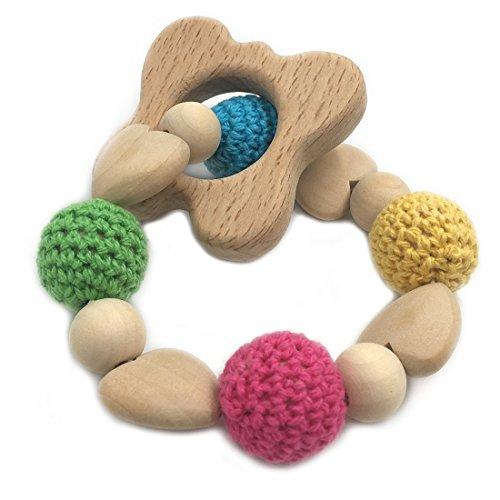 Coskiss Pulsera de bebé de madera titular del ganchillo del corazón perlas ecológico Mordedor regalo de madera de la mariposa del bebé juguetes para la dentición Cadena de chupete (Mariposa)