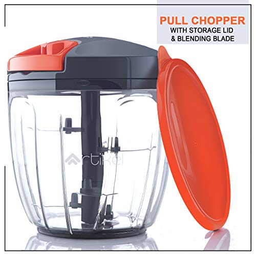 ArtikelTM Chopper & Blender with Storage Lid | Chops Vegetables, Nuts & Fruits | Blends Flour | Egg Beater | Meat Mincer | (Large - 900 ml)