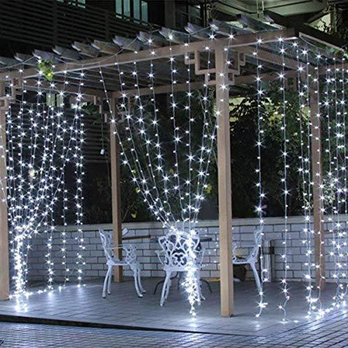 Salcar Tenda Luminosa tenda catena LED 3 * 3 metro 300 LEDs illuminano tenda per le feste di Natale, Decorare, Party, 8 programmi scelta di (blanc)