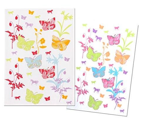 "Juego de toallas de ducha de ""primavera"" de cocina colour blanco con diseño de diseo de diseño - 1 x paño de cocina & 1 x - toalla de rizo con diseño de mariposas - flores - con diseño de caballos"