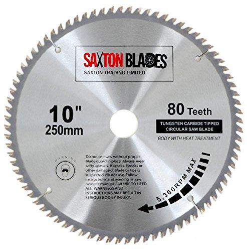 Saxton - Disco circular de TCT para sierra circular para madera de 250 x 30mm y 80 dientes, se adapta a sierras de 255mm
