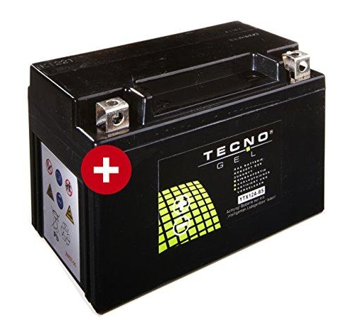 TECNO-GEL Motorrad-Batterie YT12A-BS, 12V Gel-Batterie 12 Ah, 150x87x106 mm inkl. Pfand