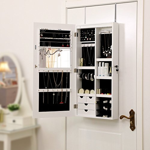 Songmics LED Hängend Schmuckschrank extra breiter Spiegel (Rahmenlose Spiegeltür) Türmontage/Wandmontage abschließbar weiß JBC102W - 6